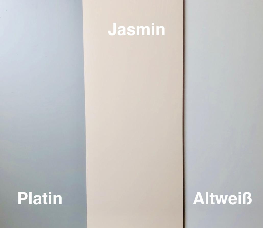 Neue Stellstufendekore: Platin, Jasmin, Altweiß